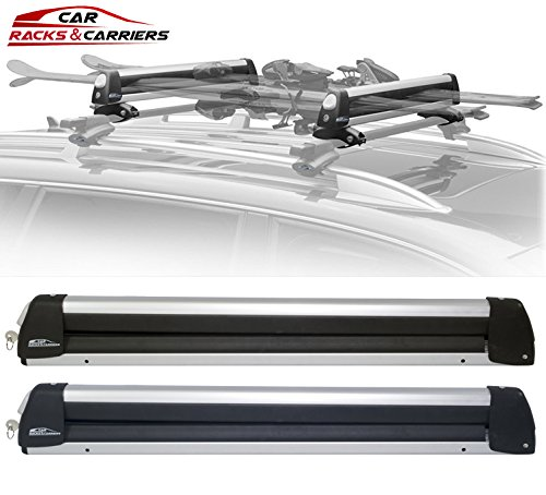 Rooftop Ski Racks (Car Rack & Carriers Ski Car Rack 6 Pairs Skis, Snowboard Car Rack 4 Boards Roof Carrier, Fit most of the flat and round and thick crossbars)