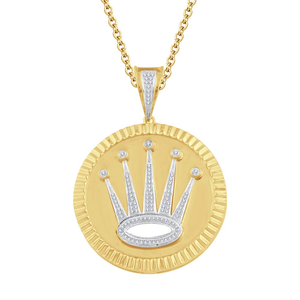 Ringjewels 1.2 Ct Round D//VVS1 Diamonds Crown Locket Pendant 18 Chain in 14K Yellow Gold Plated Silver