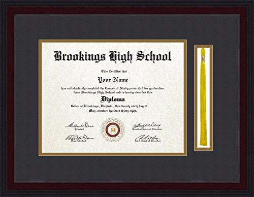 ArtToFrames 11x14 Diploma Frame with 1.5x10 Inch Tassel Opening - Framed in Windsor Mahogany, Diploma-4227-89/596-BW31-WM