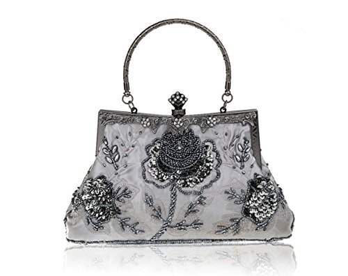 Shoulder Retro Bag Cross Evening Chic FZHLY Heavy Dress Bridal Bag Ladies Dress Gray Couture Embroidery Bag Clutch FOx1US