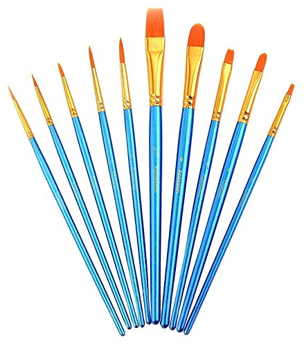 Paint Brush Set Acrylic Xpassion 10pcs Professional Paint Brushes Artist for Watercolor Oil Acrylic (Artists Paint Brushes)