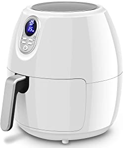 Digital Air Fryer White 4.8 Qt Adjustable Temperature Control, 30-minute Timer with Ready Signal and Auto Shut-Off
