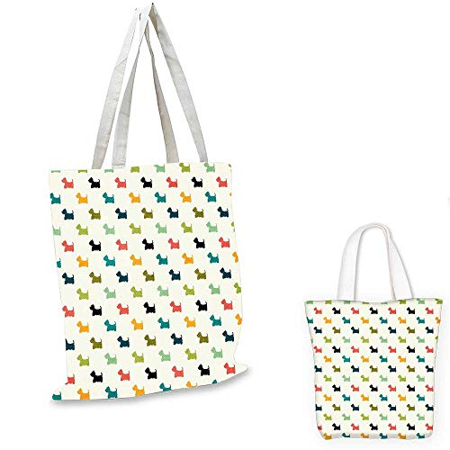 Dog Lover thin shopping bag Colorful Scottish Terrier Silhouettes Polka Dot Backdrop Purebred Animal Pattern canvas tote bagMulticolor. ()