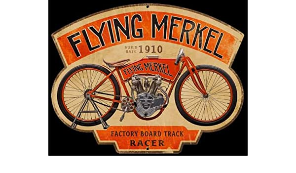 Amazon.com  Metal Tin Sign 8x10 From Photos Flying Merkel Motorcycles 1910  Advertising  Posters   Prints 6208bd862
