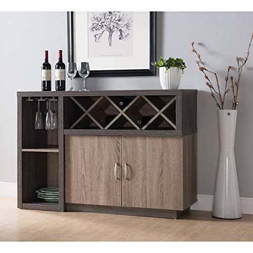 Modern Distressed Two Tone Wine Cabinet Dining Server with 6 Shelves - Includes Modhaus Living ()
