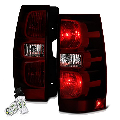VIPMOTOZ Smoke Red Lens OE-Style Tail Light Lamp Assembly For 2007-2014 Chevy Tahoe Suburban GMC Yukon XL 1500 2500 - CREE LED Backup Bulbs Included, Driver & Passenger Side ()