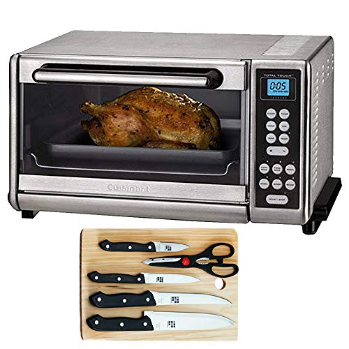 Cuisinart Toaster Oven Broiler Brushed Stainless CTO-140PCFR (Certified Refurbished) with 5-Piece Knife Set with Cutting Board