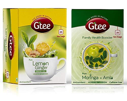 GTEE Green Tea Bags - Lemon & Ginger & Moringa Tea Bags, 25 Tea bags (Pack of 2)