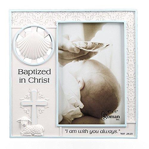 Baptized in Christ Vertical 4x6 Picture Frame - Matthew 28:20 Scripture (Blue)