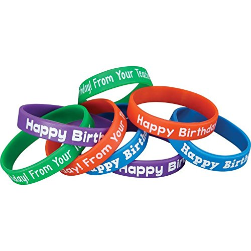 Really Good Stuff Happy Birthday from Your Teacher Silicone Bracelets - Set of 24