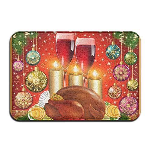 Fallake Indoor Welcome Personalized Hello Doormat, Christmas Turkey Wine, Non Slip Backing Entry Way Doormat