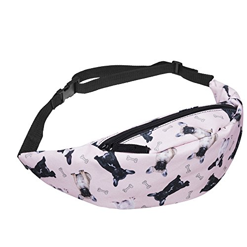 WHO CARES 3D Colorful Printing Bulldogs Fanny Packs Girls Hiking Waist Bag for Men Money Belt Travelling Mobile Phone…