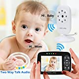 """Video Baby Monitors with Camera 3.5"""" Large Screen Display Night Vision,ECO Mode,Two Way Talk Temperature Sensor Monitoring (Baby Monitor with Two Camera)"""
