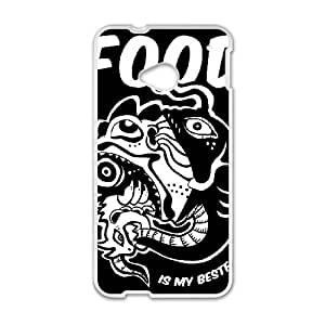 HTC One M7 Cell Phone Case White FOOD IS MY BESTFRIEND OJ404989
