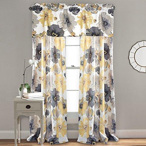 Window Curtains Gray And Yellow: Lush Decor Leah Room Darkening Window Curtain Panel Pair