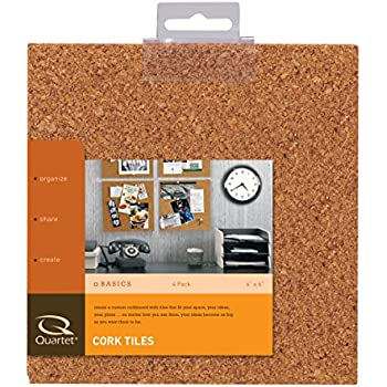 Quartet Cork Tiles, Natural, 6 Inch x 6 Inch, Frameless, 4 Pack (100T)