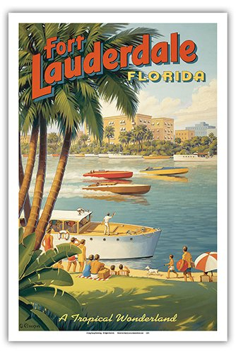 Fort Lauderdale, Florida - A Tropical Wonderland - Boat Racers - Yachting Capital of the World - Vintage Style World Travel Poster by Kerne Erickson - Master Art Print - - Fort In Style Lauderdale