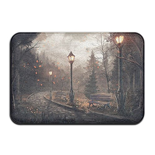 - Homlife Rectangle Thin Doormats Park Bench Street Lamp Art Entrance Mat Non-slip Indoor Outdoor Area Rug Bathroom Mats Coral Fleece Home Decor