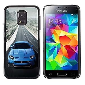 ROKK CASES / Samsung Galaxy S5 Mini, SM-G800, NOT S5 REGULAR! / BLUE JAG XKR SEXY CAR / Delgado Negro Plástico caso cubierta Shell Armor Funda Case Cover