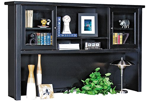 kathy ireland Home by Martin Tribeca Loft Black Hutch with Sliding Doors - Fully Assembled by Martin Furniture