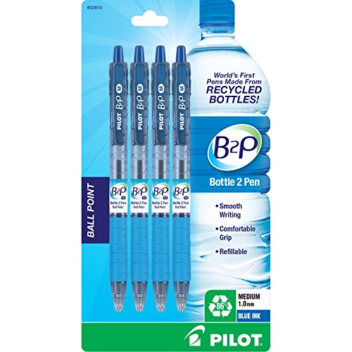 Pilot Bottle-2-Pen (B2P) Retractable Ball Point Pens Made from Recycled Bottles (4 Count) Medium Point, Blue Ball Point Ink, Refillable, Comfortable Grip (32810)