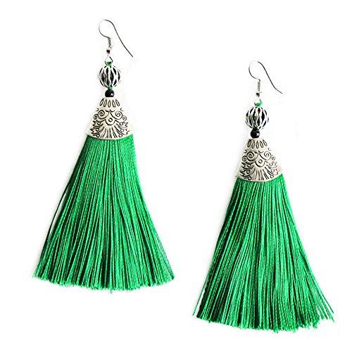 Handcrafted Green Tassel Long Statement Earrings Vintage Ethnic Drop Dangling Earrings for Women -