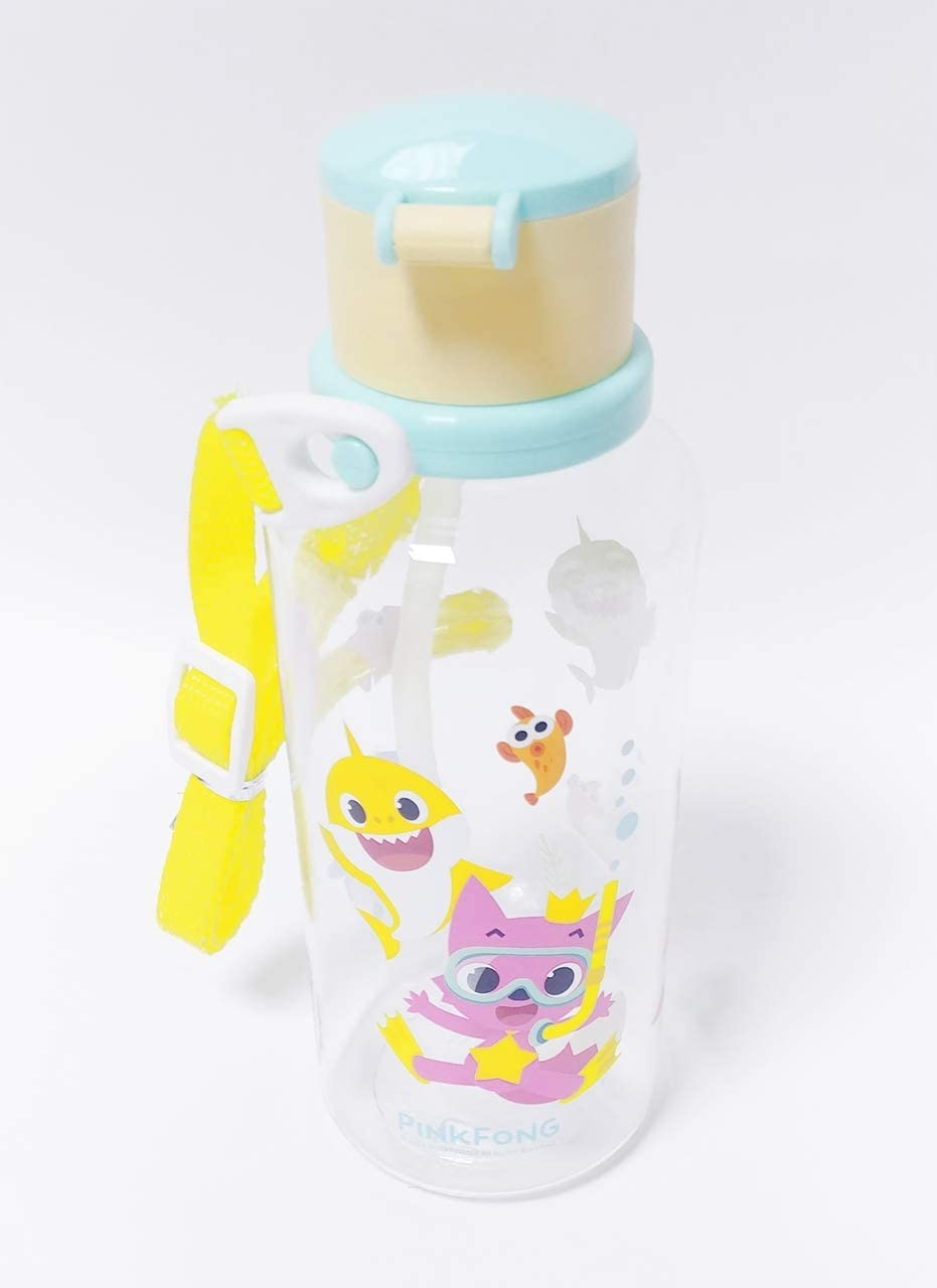 Pinkfong Baby Shark Kids Water Bottle (12.8 oz) with Shoulder Strap
