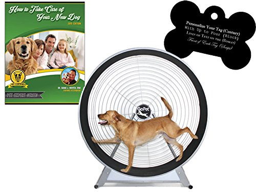 GoPet Large Treadwheel Indoor/Outdoor Dog Exercise Wheel for Dogs Up to 150 Pounds (Model #: CS6012) with FREE Custom Bone Shaped Dog Tag and E-Book by GoPet