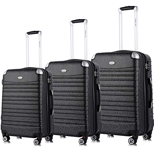 - Expandable Luggage Set, TSA Lightweight Spinner Luggage Sets, Carry On Luggage 3 Piece Set (Black, 3 pcs set(20