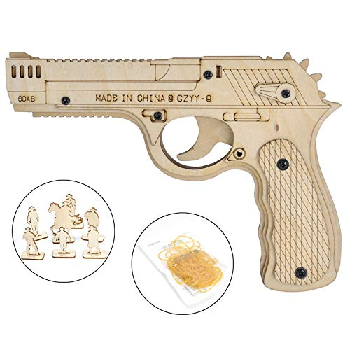 CZYY Wooden Rubber Band Gun DIY Assemble Desert Eagle Pistol Toy with Targets Set Perfect for Outdoor, Party, Family Game for Dad, Boyfriend and Husband ()