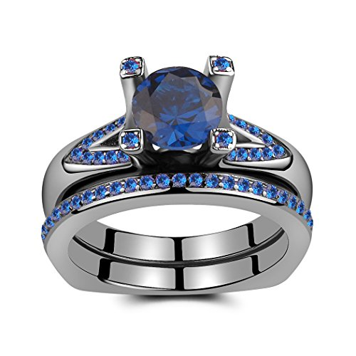 Caperci Sterling Silver 14k Black Gold Plated and Created Blue Sapphire Engagement Bridal Ring Set