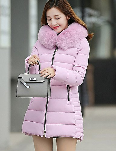 Cotton Long Cotton ZHUDJ Padded Blushing Casual Simple Daily Long Plus Pink Solid Polyester Out Coat Going Sleeves Women'S L Vintage Size Polypropylene Cute fxqCTx