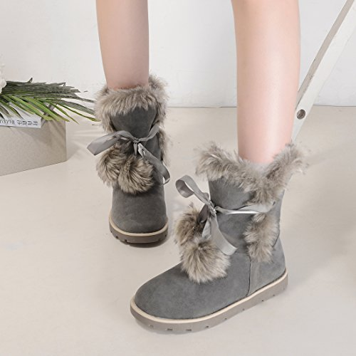 Nubuck Lace Leather Faux Platform Agodor Snow up Warm Flat Winter Womens Grey Boots With Shoes Fur vBqYnxnXt