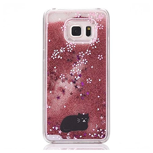 S6 edge plus Liquid Case,AIREBO Flowing Liquid Quicksand Bling Adorable flowing Floating Moving Shine Glitter Love Heart Hard PC Case for Samsung Galaxy S6 edge+ G928A (J-11)
