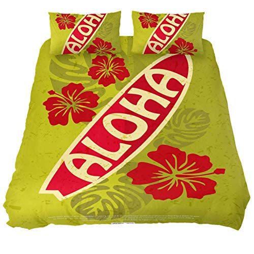 - LORVIES Retro Surfing Aloha Duvet Cover Set, 3 Pieces - Microfiber Comforter Quilt Bedding Cover with Zipper, Ties, Decorative Bedding Sets with Pillow Shams for Men Women Boys Girls Kids Teens