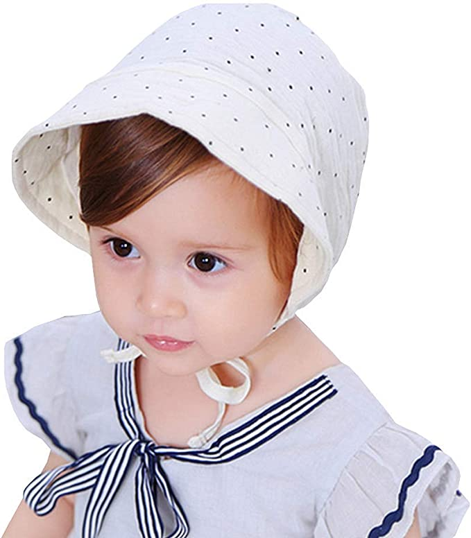 2 Pack Cotton Princess Hat with Eyelet Lace White Pink Baby-Girls Christening-Bonnet Breathable Sun-Protection