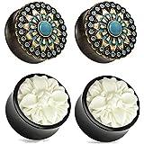 Zaya Body Jewelry 2 Pairs Black Wood Turquoise White Buffalo Flower Wood Ear Plugs Tunnels 00g 1/2 9/16 5/8 3/4 7/8 1 Inch (00g 10mm)