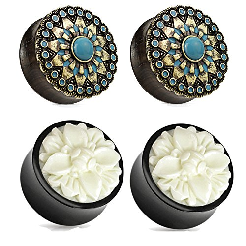 Zaya Body Jewelry 2 Pairs Black Wood Turquoise White Buffalo Flower Wood Ear Plugs Tunnels 00g 1/2 9/16 5/8 3/4 7/8 1 Inch (1/2 12mm)