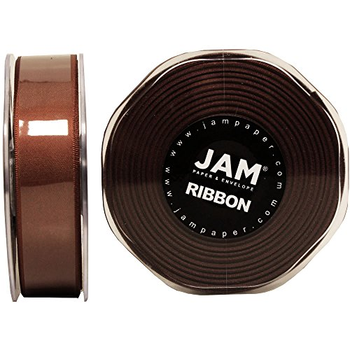 JAM PAPER Double Faced Satin Ribbon - 7/8 Inch Wide x 25 Yards - Chocolate Brown - Sold Individually
