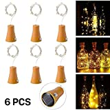 Solar Led Bottle Cork Lights, 1M Copper Wire String Lights with 10 Warm White LED Bulbs for Bottle DIY Decor, Outdoor BBQ, Gathering, Party, Wedding, Holiday[Pack of 6]