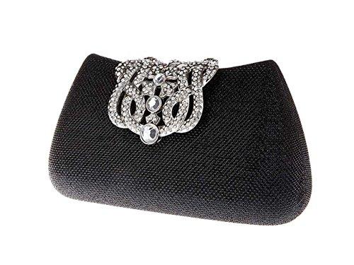 Main Pochette Ankoee de de Mariage Noir Sac à Soirée Cristal Sac Elégante en Pochette Embrayage nx4wq41f