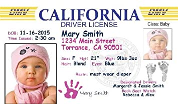 20 Health amp; Care License Of Personalized Personal Announcement-california Drivers Baby set Birth Amazon com