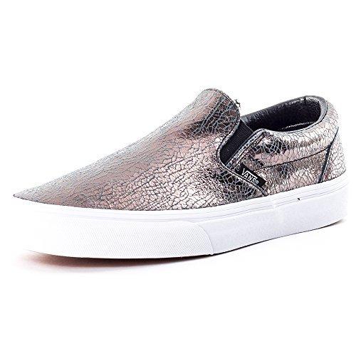 Vans Unisex Cracked Metallic Classic Slip-On Gunmetal/True White Sneaker - 3.5 Cracked Metallic Leather