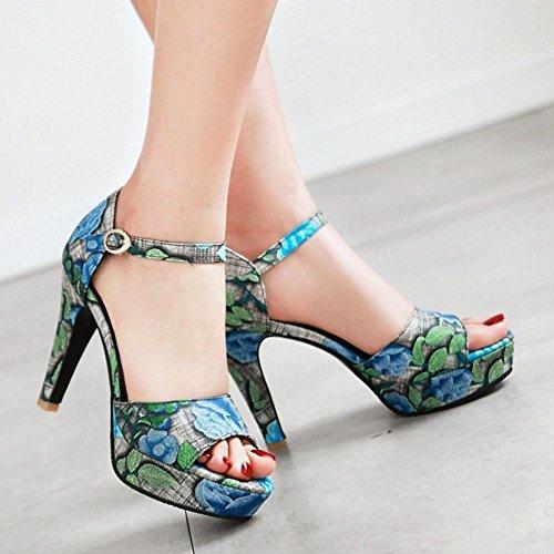 Blue Femmes Floral JOJONUNU Toe Peep Sandales ZYqx8wg
