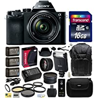 Sony a7K A7 Full-Frame DSLR 24.3 MP Interchangeable Digital Lens Camera with FE 28-70mm f/3.5-5.6 OSS Lens with Professional Accessories Bundle Kit includes 64GB Class 10 SDHC Memory Card + x2 Replacement (1200mAh) NP-FW50 Battery + Home Wall Charger with Car and European Adapter + Professional 60 Inch Photo/Video Tripod + 3 Piece High Definition Filter + 2.2x High Definition AF Telephoto Lens + .43x HD2 Wide Angle Panoramic Macro Fisheye Lens + Ring Adapter + Hard Shell Carrying Case + High