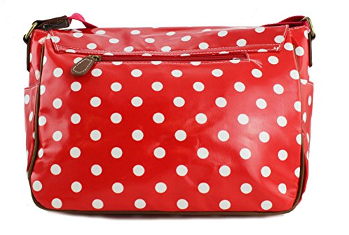 Designer Messenger Dots Stylla London Body Oilcloth polka Satchel Bag butterfly dog skull Polka Cross Owl Red wR8qw07