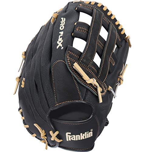 Franklin Sports Pro Flex Hybrid Series Baseball Fielding Glove, Right Hand Throw, 13.5-Inch, Black/Camel ()