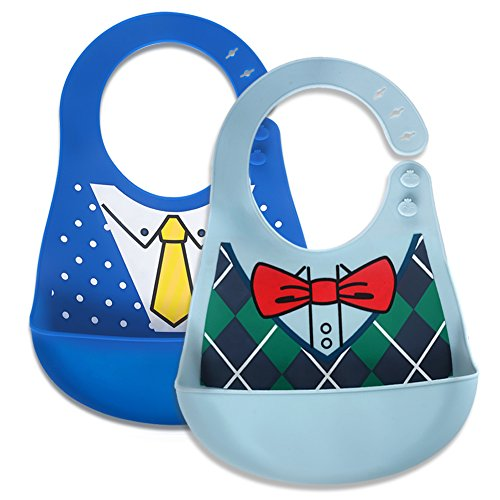 - Baby Waterproof Bibs Silicone Bib for Babies and Toddlers with Various Styles Bowtie/Fashion Suit