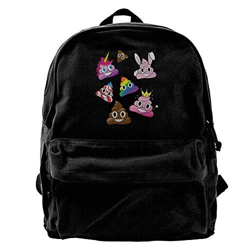 Silly Whacky Fun Poop Emoji Land Mens And Womens Large Vintage Canvas Backpack School Laptop Bag Hiking Travel Rucksack