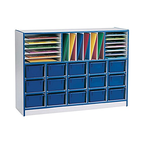 Sectional Mobile 34 Compartment Cubby Bins: Without Bins, Color: Gray Body and Orange ()